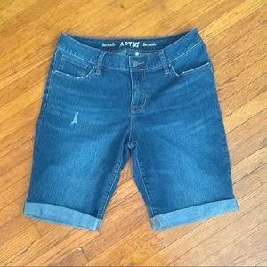 Apt 9 Dark Wash Cuffed Jean Bermuda Shorts
